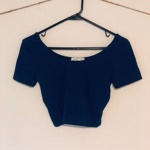 FOREVER 21 Cropped Blue T Shirt